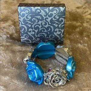 Silver & Blue Rose Bracelet